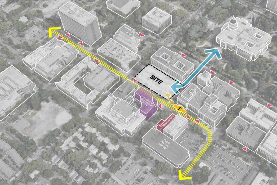 overhead map view of the proposed new State Office Building