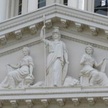 Photo of State Capitol West Portico Athena and Minerva